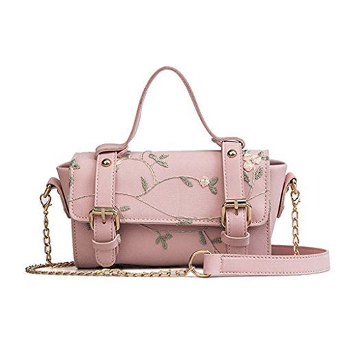 Kleine Kette Tasche, Retro bestickt Mini Handtasche PU Leder Schulterklappe Tasche (19 * 7 * 13 cm) (Farbe : Pink)