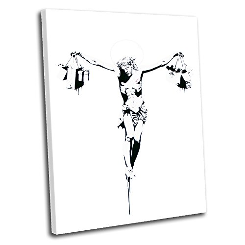 Bild auf Leinwand Banksy Kultur–Shopping Kruzifix Jesus Kunstdruck mit Rahmen, Bild 120 x 80 cm weiß