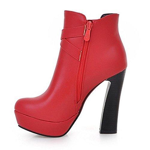 TAOFFEN Femmes Mode Bottes Fermeture Eclair red
