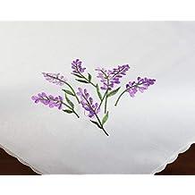 Kamaca Decorativa Mantel/mantel Lavanda – Alta calidad bordado – Tono Crema con dezenter