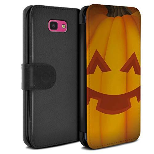 eSwish PU-Leder Hülle/Case/Tasche/Cover für Samsung Galaxy J4 Plus 2018 / Glücklich Muster/Halloween Kürbis Kollektion