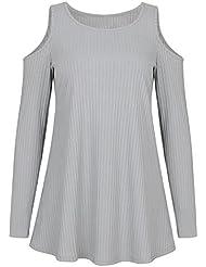 MERICAL Mujer Moda Encaje Floral Empalme O-Cuello T-Shirt Blusa Tops(Gris,X-Large)