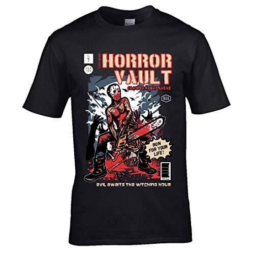Retro B-Movie Comicbuch Stil Horror Story Kettensäge Massaker Design Neuheit Halloween Kostüm Geschenk Herren T-Shirt Schwarz Top - Schwarz, Medium 38/40