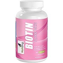 NutriZing Suplemento Biotina Plus – Tabletas Vitamina B7-10000 mcg para hombres & Mujeres –