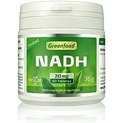 NADH, 20 mg echtes NADH, extra hochdosiert, 60 Tabletten, vegan – magensaftresistent. OHNE künstliche Zusätze. Ohne Gentechnik. Vegan.