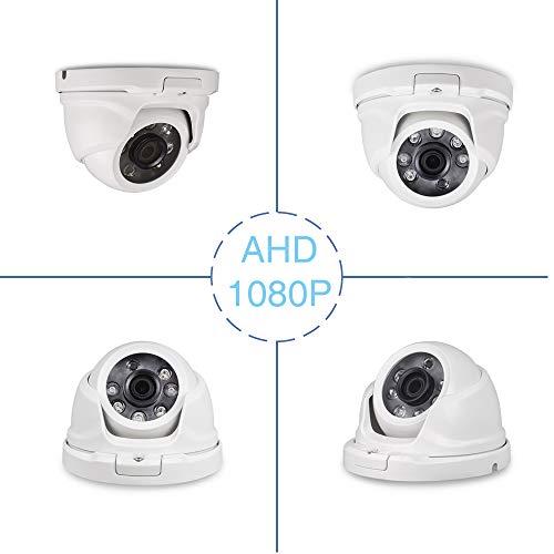 Tonton CCTV 2.0 Megapixel AHD 1080P Außen Weiß Dome Video Überwachungskamera Sicherheitskamera, 20m IR Nachtsicht, wasserdichte für TVI/AHD//5-in-1/4-in-1 Recorder 20M Nachtsicht, Metallgehäuse Axis-cctv-kameras