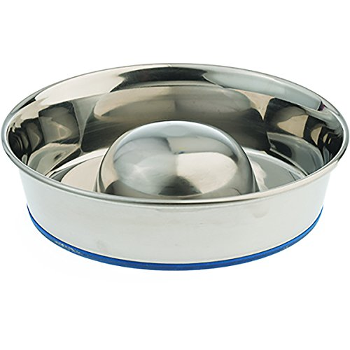 ourpets-durapet-premium-rubber-bonded-stainless-steel-slow-feed-bowl-medium