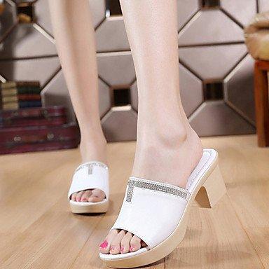 RTRY Donna Tacchi Pantofola Comfort Elegante Primavera Estate Casual Office &Amp; Carriera Comfort Chunky Heel Mandorla Bianco Nero 2A-2 3/4In US5.5 / EU36 / UK3.5 / CN35