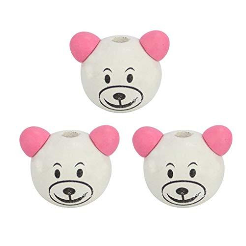 3pcs Cartoon Bear Head Perles enfants Mode bricolage jouet Accessoires Bijoux adorable Faire Decor Mengonee