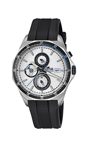 Lotus Men's Quartz Watch with White Dial Analogue Display and Black Rubber Strap 18321/1