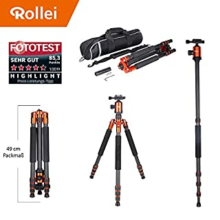 Rollei Allrounder Carbon tripod Orange with ball head - compatible with DSLR & DSLM cameras - incl. monopod, Acra Swiss quick release plate & tripod bag