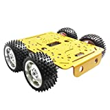 Homyl C300 4WD Smart Metall RC Roboter-Auto-Fahrgestell-Kits 9V Für Arduino - gelbes Chassis