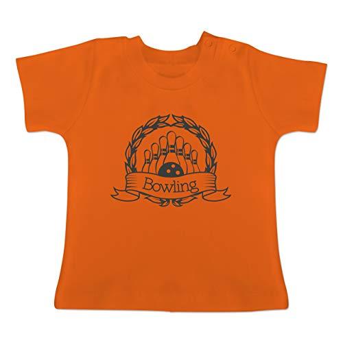Sport Baby - Bowling Lorbeerkranz - 1/3 Monate - Orange - BZ02 - Baby T-Shirt Kurzarm