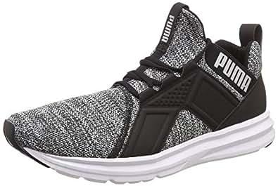 Puma Men's Enzo Knit NM Black-White-Silver Running Shoes-10 (4060978916037)