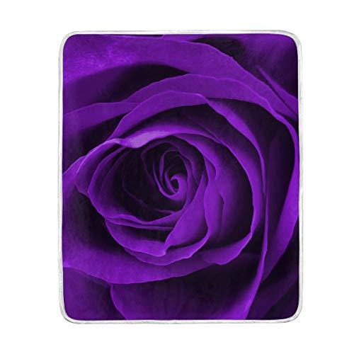 DOSHINE Überwurfdecke, Blumen-Blumen-Rosen-Violett, weich, leicht, Warmer Decken, 127 x 152 cm für Sofa, Bett, Stuhl, Büro