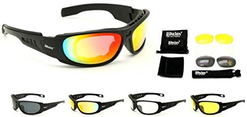 ARUNDEL SERVICES EU Daisy C6 Militär Stil Taktische Sportbrillen Outdoorbrillen 4 Linsen Gläser Sonnenbrille Angeln Klettern Schießen Gehen