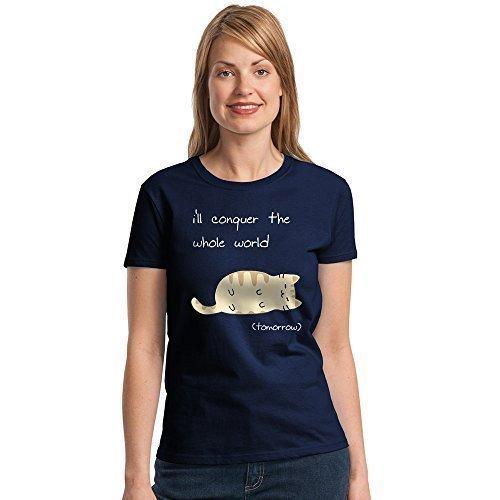 donna I Will conquer the world gatto ragazze T-shirt, gatto divertente Ladies T-shirt Stampato donna T-Shirt, ragazze T-Shirt plus 1 T-Shirt - Navy, 12 / Medium