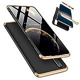 Laixin 3 in 1 Handyhülle für Huawei P30 Lite/Nova 4e Hülle + Panzerglas, Ultra Dünn PC Plastik Anti-Kratzen Schutzhülle Schutz Case Cover mit Displayschutzfolie, Gold/Schwarz
