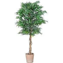 PLANTASIA Marihuana-Strauch, Echtholzstamm, Kunstbaum, Kunstpflanze - 150 cm, Schadstoffgeprüft