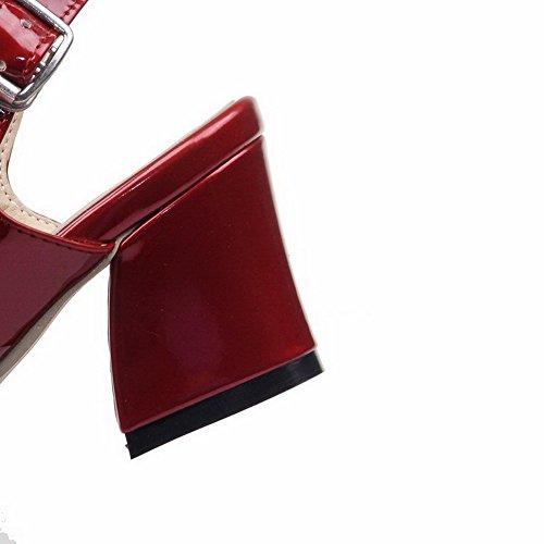 AllhqFashion Femme Boucle à Talon Correct Pu Cuir Couleur Unie Ouverture D'Orteil Sandales Rouge Vineux