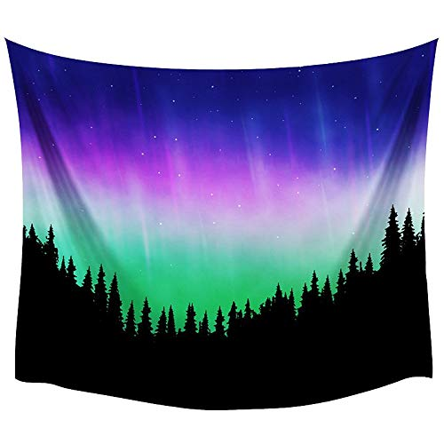 ZGQQQ Comwarm Polyester Shiny Psychedelic Aurora Home Decor Tapestry Starry Forest Printing Wall Hanging Natural Scenery Beach Handtuch 150 * 200CM 4