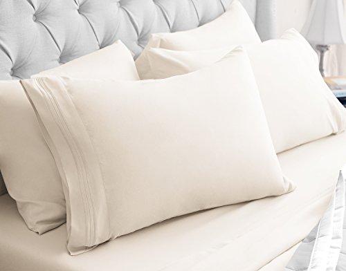 Luxor Linens 6-Bettlaken-Set-Hotel Qualität Giovanni Collection Ägyptische Komfort-Bettlaken-Set -, Luxuriös, Falten und farbbeständige-12Farben & 5Größen erhältlich Queen Elfenbeinfarben - ägyptische Komfort