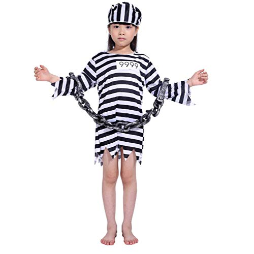 LOLANTA Jungen Mädchen Gefangener Jailbird Kostüm Kinderkriminal Kostüm mit Hut Handschellen (6-7 Jahre, Mädchen) (Jailbirds Kostüm)