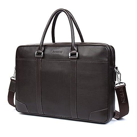 BOSTANTEN Genuine Leather Briefcase Business Laptop Bag Shoulder Bags for Men Coffee