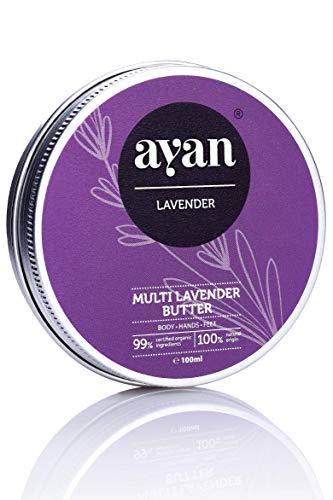 AYAN Naturkosmetik Feuchtigkeitscreme Lavendel ✔ Bodylotion Pflegecreme für sehr trockene Haut ✔ BIO Sheabutter Kokosöl Bienenwachs Macadamiaöl Lavendel ✔ 100ml -