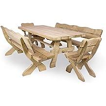 Gartenmöbel Set U0027Farmu0027 240 Cm, Gartentisch, 2 Gartenstühle Und 2  Gartenbänke,