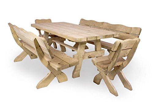 Gartenmöbel Set 'Farm' 240 cm, Gartentisch, 2 Gartenstühle und 2 Gartenbänke, ländliche, rustikale Gartenmöbel, aus 40-60 mm dickem Fichtenholz