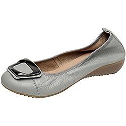 Jamron Mujer Piel Genuina Comodidad Zapatos Suela Blanda Bailarinas Talón de Cuña Baja Zapatillas Gris SN020624 EU40