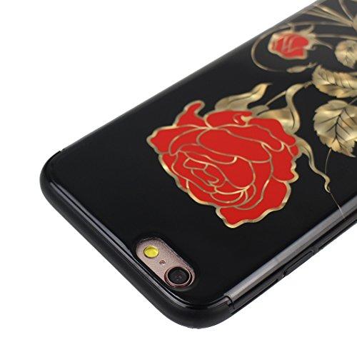 Hülle iPhone 6S Plus, iPhone 6 Plus Hülle, Blumen Design, Moon mood® Weiche TPU Rahmen mit Hart PC Zurück Schutzhülle für Apple iPhone 6 Plus/ iPhone 6S Plus Schutz Etui Cover, Flexibel Case Cover Bac Blume - 3
