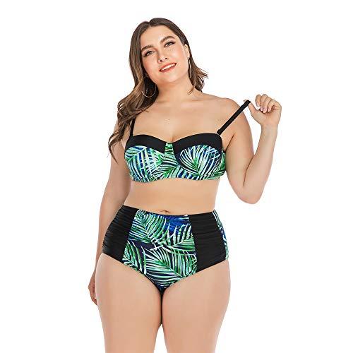 HBRT Bikini Badeanzug große Größe für Frauen, hoch taillierte Bademode Tummy Control Zwei Stück Tankini mit Stahl Unterstützung Brust Pad,L (Rash Guard Mit Brust-pad)