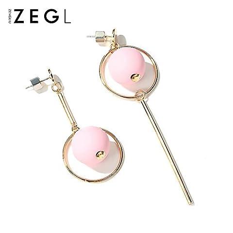 Fashion Girls lange Ohrringe Ohrringe Ohrringe Schmuck von 1 einfachen Ohr Ring, Rosa