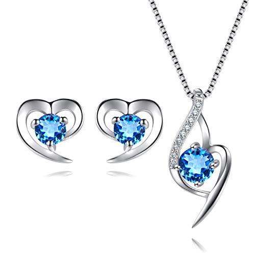 Herz Schmuckset Silber 925 Damen Kette und Ohrringe Set mit Zirkonia Stein Für Fraun & Mädchen Geschenk, 18