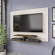 Artely Jet Plus Wall Panel for 42 inch TV, Off White with Walnut Brown, W 120 x D 28 x H 89.5 cm