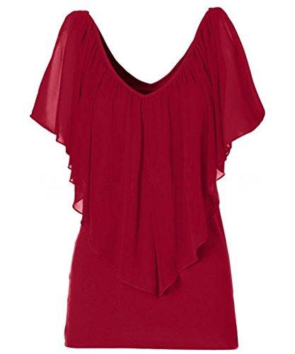Bigood Femme Couleur Uni T-shirt Décolleté Sexy Top à Volants Épaule Nu Rouge
