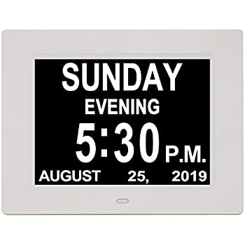 YCOO Digital Calendar Day Clock with 7 Inches Display Digital Clocks,12 alarms Clocks for people living with Dementia 7-inch Digital Photo Frame Warm White 7 inch Memory Loss Alzheimer