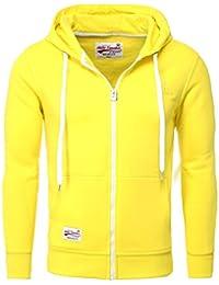 9e2d5f24e00b AKITO TANAKA Herren Sweatjacke Zip Hoodie Sweatshirt 18110 Sweater mit Kapuze  Reißverschluss slim fit kontrast look