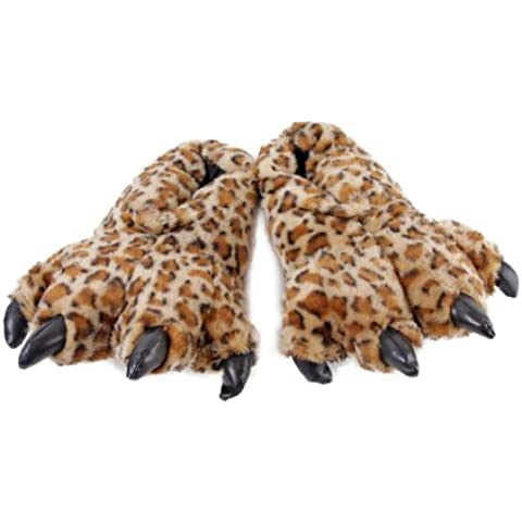 Furry Leopard Slippers 38cm by Wishpets - 55321