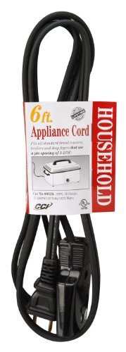 COLEMAN CABLE INC 6-Ft. 16/2 HPN Black Roaster/Broiler Appliance Cord