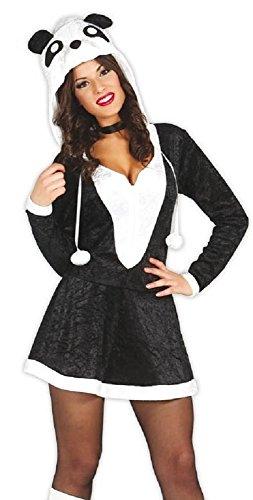 Fancy Me Damen Sexy Schwarz Weiß Panda Chinesisch Tier fest Halloween Kostüm Kleid Outfit - Schwarz/weiß, Schwarz/weiß, UK ()
