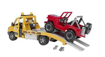 Bruder 2535 - Grúa transportadora de coches de juguete con Jeep por Bruder