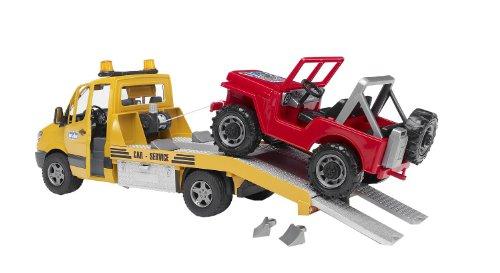 bruder 02535 Toys Mercedes-Benz Sprinter Abschleppdienst mit Geländewagen und Light and Sound Modul