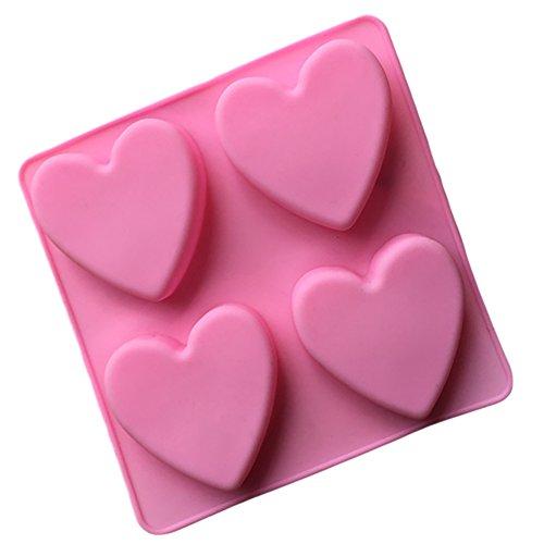 Silikon-formen Seife Für Die (Lumanuby 1 Stück Seifen Formen Silikon Material Gelee Formen Klassisches Liebes Herz Form Entwurf Cake Mold Praktisch Küchen Zubehör 15*15*2CM, Rosa Farbe)