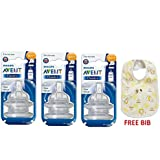Philips Avent Classic Teat (4 Holes Fast Flow - 6months+) (2 Pc. Pack) 6 Teat And Baby Bib Free