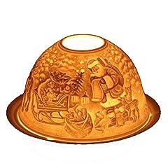 Idea Regalo - Feng Shui Portalumino Babbo Natale con Renne 13 cm Candele portacandele Illuminazione d'atmosfera votiva in Porcellana con Scatola Regalo