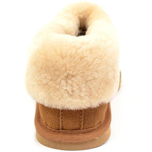 Chaussons pour femme avec peau de mouton épaisse de manchette & léger Flexible Semelle rigide Par Bushga Prune vison (Marron) Marron - Châtaigne
