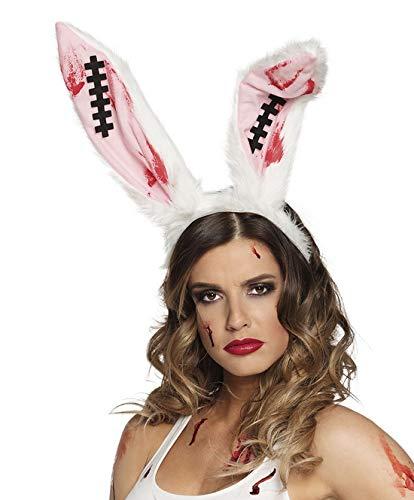 costumebakery - Kostüm Accessoires Zubehör Kopfbedeckung Damen Blutige Hasenohren mit Narben, Tiara Bloody Bunny with Scarfs, perfekt für Halloween Karneval und Fasching, Weiß